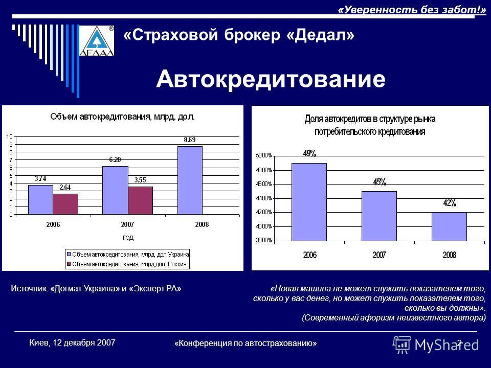 «Конференция по автострахованию»2 Киев, 12 декабря 2007 Автокредитование «Уверенность без забот!» «Страховой брокер «Дедал» «Новая машина не может служить показателем того, сколько у вас денег, но может служить показателем того, сколько вы должны». (