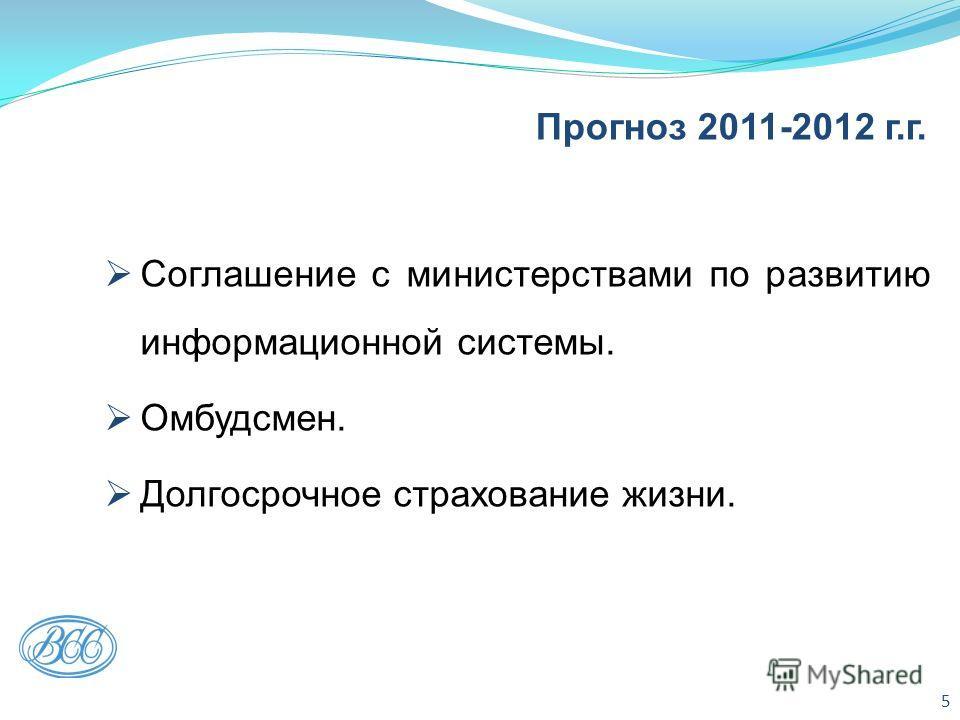 Прогноз 2011-2012 г.г. Соглашение с министерствами по развитию информационной системы. Омбудсмен. Долгосрочное страхование жизни. 5