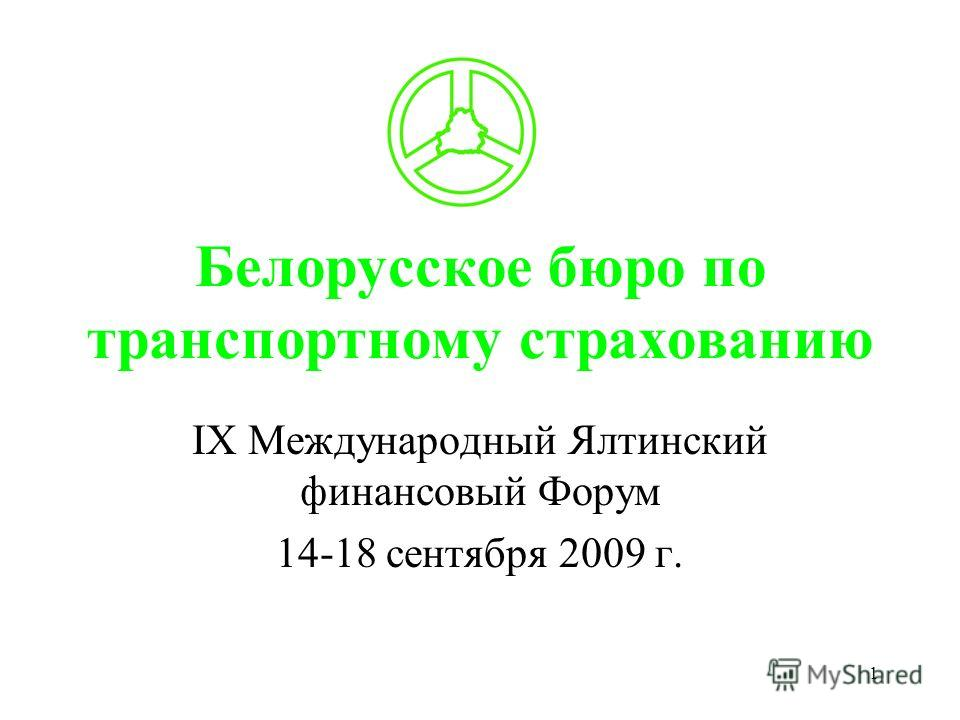 1 Белорусское бюро по транспортному страхованию IХ Международный Ялтинский финансовый Форум 14-18 сентября 2009 г.