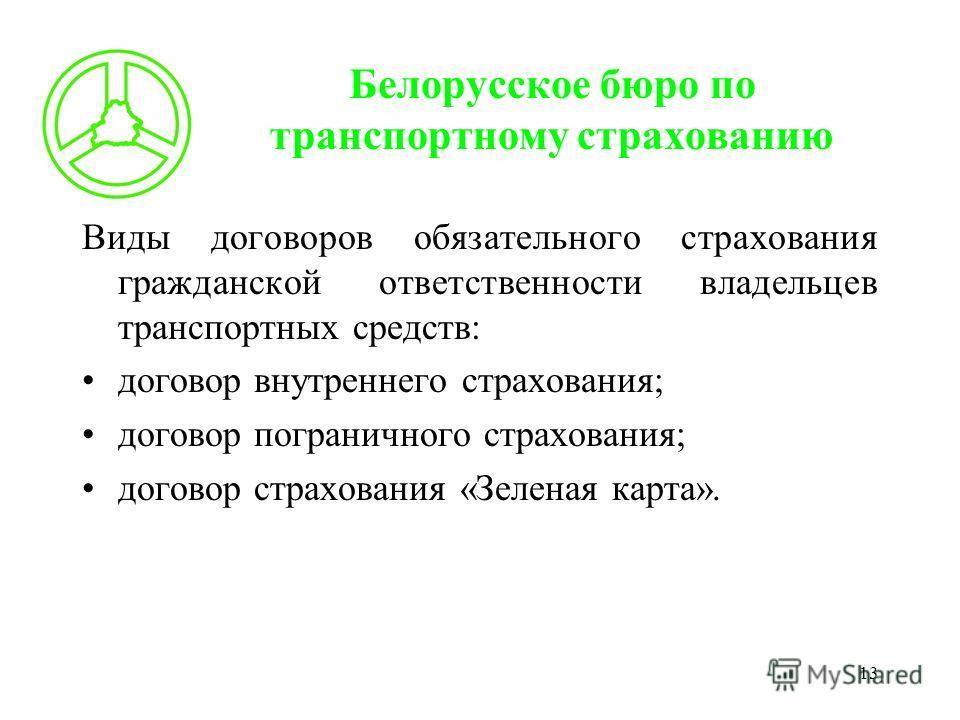 13 Белорусское бюро по транспортному страхованию Виды договоров обязательного страхования гражданской ответственности владельцев транспортных средств: договор внутреннего страхования; договор пограничного страхования; договор страхования «Зеленая кар