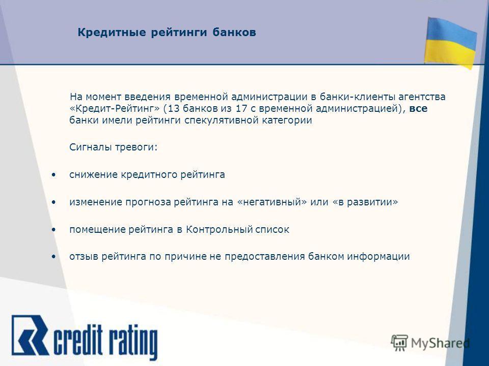 Кредитные рейтинги банков На момент введения временной администрации в банки-клиенты агентства «Кредит-Рейтинг» (13 банков из 17 с временной администрацией), все банки имели рейтинги спекулятивной категории Сигналы тревоги: снижение кредитного рейтин