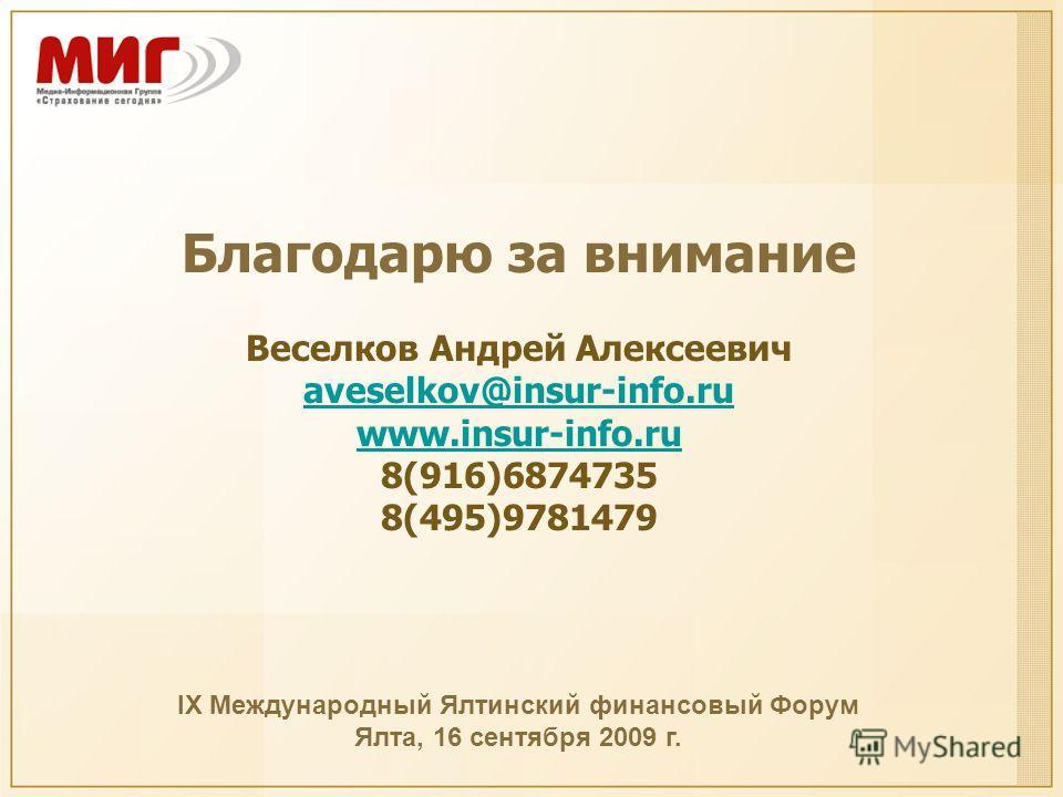 Благодарю за внимание Веселков Андрей Алексеевич aveselkov@insur-info.ru aveselkov@insur-info.ru www.insur-info.ru 8(916)6874735 8(495)9781479 IX Международный Ялтинский финансовый Форум Ялта, 16 сентября 2009 г.