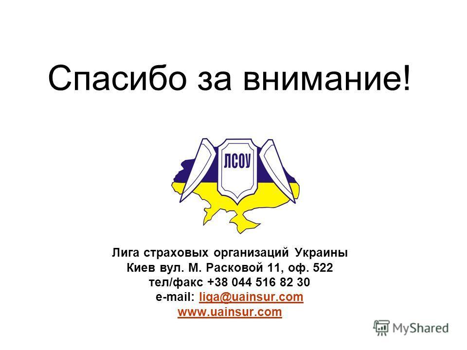 Спасибо за внимание! Лига страховых организаций Украины Киев вул. М. Расковой 11, оф. 522 тел/факс +38 044 516 82 30 e-mail: liga@uainsur.com www.uainsur.comliga@uainsur.com www.uainsur.com