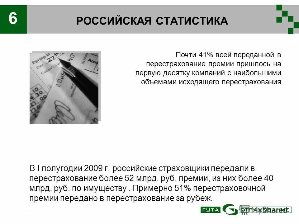 РОССИЙСКАЯ СТАТИСТИКА В I полугодии 2009 г. российские страховщики передали в перестрахование более 52 млрд. руб. премии, из них более 40 млрд. руб. по имуществу. Примерно 51% перестраховочной премии передано в перестрахование за рубеж. Почти 41% все