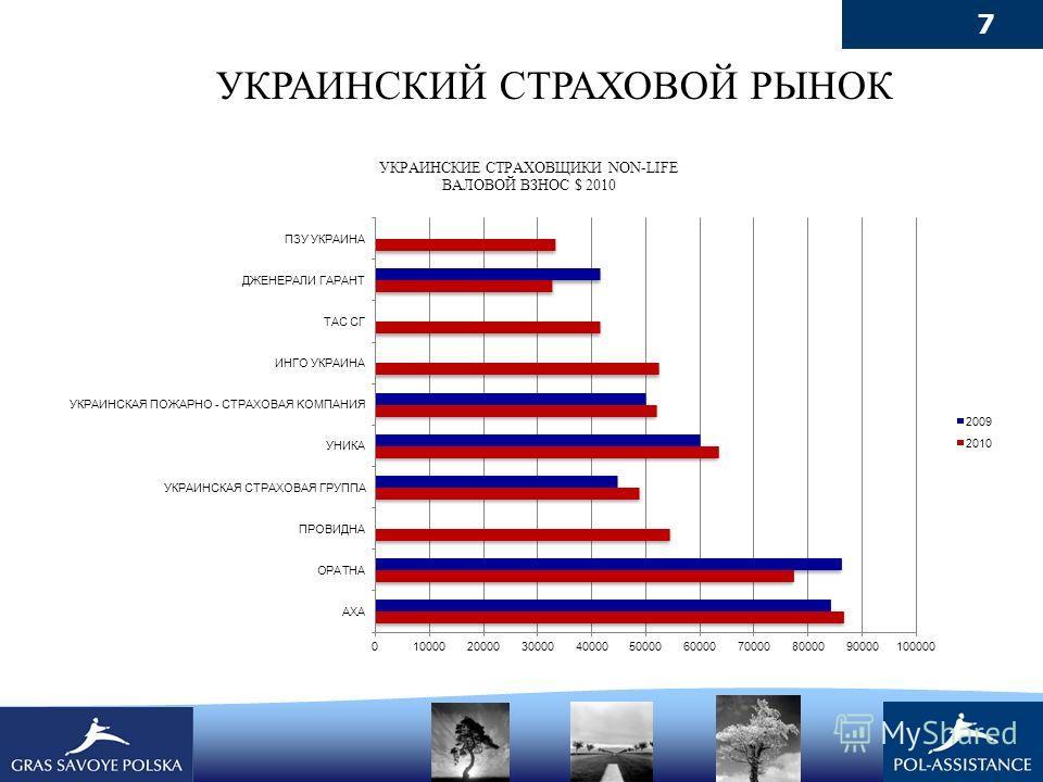 7 УКРАИНСКИЕ СТРАХОВЩИКИ NON-LIFE ВАЛОВОЙ ВЗНОС $ 2010 УКРАИНСКИЙ СТРАХОВОЙ РЫНОК