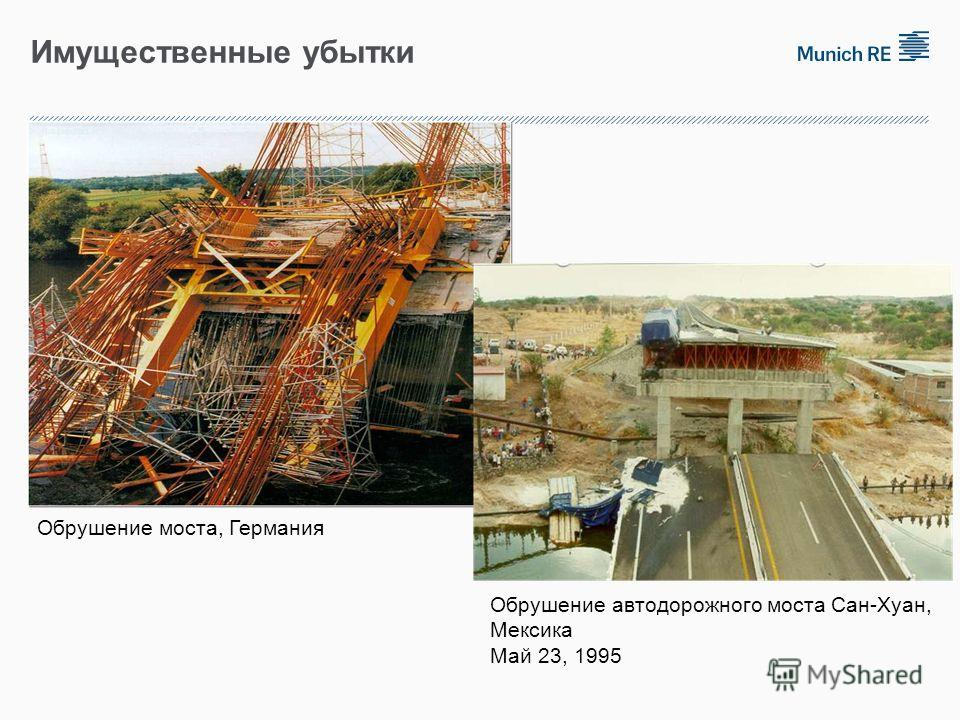 Имущественные убытки Обрушение моста, Германия Обрушение автодорожного моста Сан-Хуан, Мексика Май 23, 1995