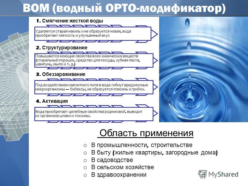 ВОМ (водный ОРТО-модификатор) ррр 1. Смягчение жесткой воды Удаляется старая накипь и не образуется новая, вода приобретает мягкость и улучшенный вкус 2. Структурирование Повышаются моющие свойства всех химических веществ ( стиральный порошок, средст