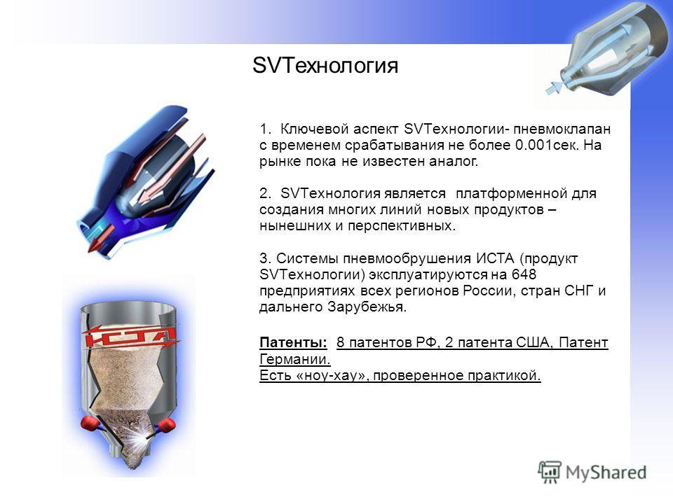SVTехнология 1. Ключевой аспект SVTехнологии- пневмоклапан с временем срабатывания не более 0.001сек. На рынке пока не известен аналог. 2. SVTехнология является платформенной для создания многих линий новых продуктов – нынешних и перспективных. 3. Си
