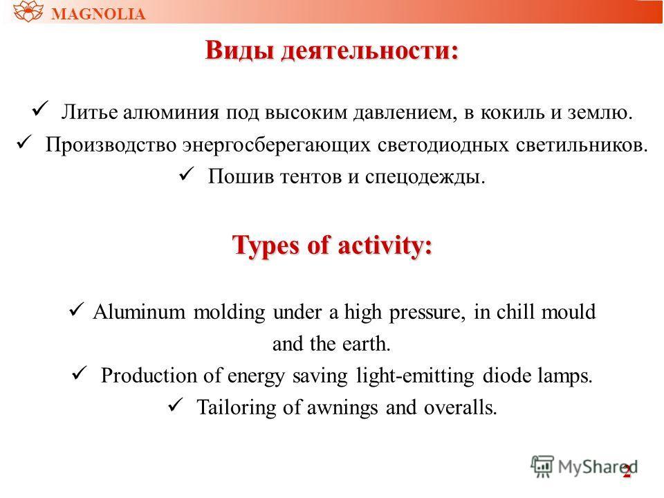 Виды деятельности: Литье алюминия под высоким давлением, в кокиль и землю. Производство энергосберегающих светодиодных светильников. Пошив тентов и спецодежды. Types of activity: Aluminum molding under a high pressure, in chill mould and the earth. P