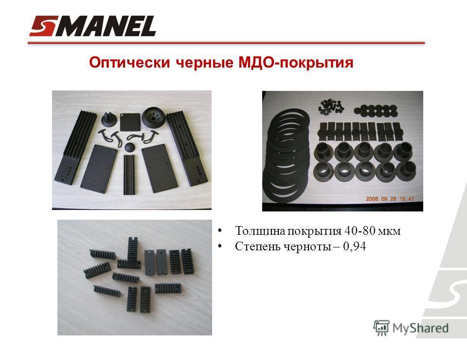 Оптически черные МДО-покрытия Толщина покрытия 40-80 мкм Степень черноты – 0,94