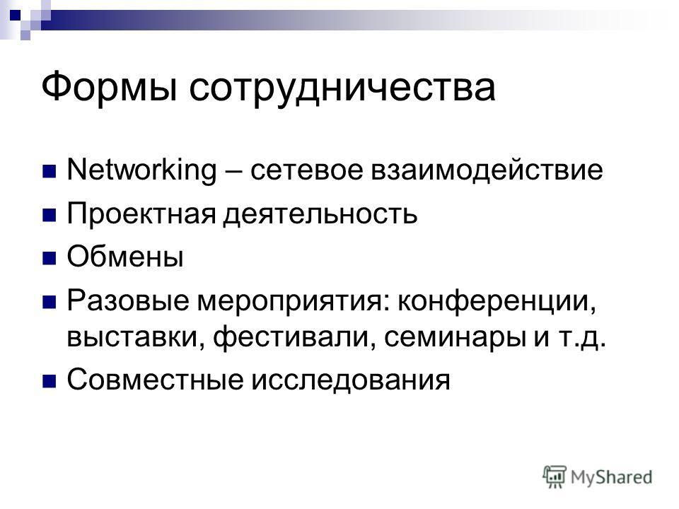 Формы сотрудничества Networking – сетевое взаимодействие Проектная деятельность Обмены Разовые мероприятия: конференции, выставки, фестивали, семинары и т.д. Совместные исследования
