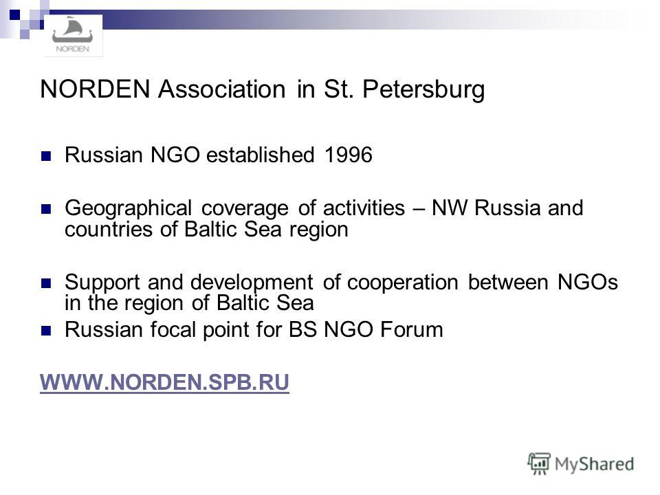 NORDEN Association in St. Petersburg Russian NGO established 1996 Geographical coverage of activities – NW Russia and countries of Baltic Sea region Support and development of cooperation between NGOs in the region of Baltic Sea Russian focal point f