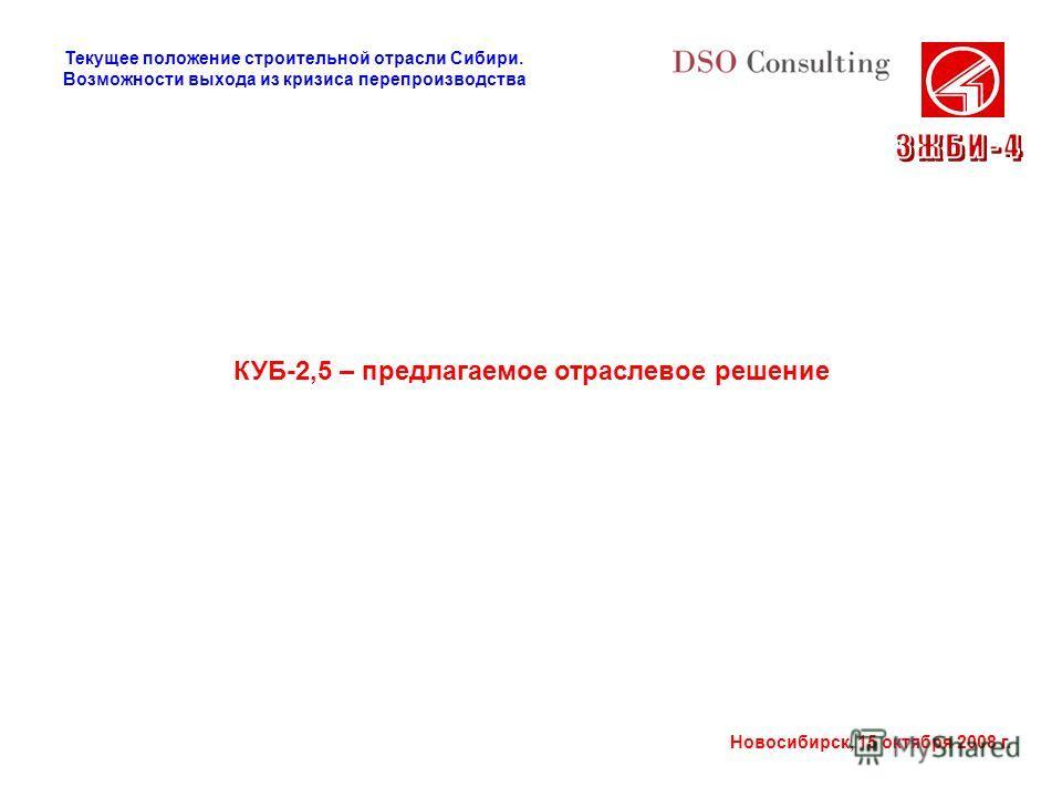 Новосибирск, 15 октября 2008 г. КУБ-2,5 – предлагаемое отраслевое решение Текущее положение строительной отрасли Сибири. Возможности выхода из кризиса перепроизводства