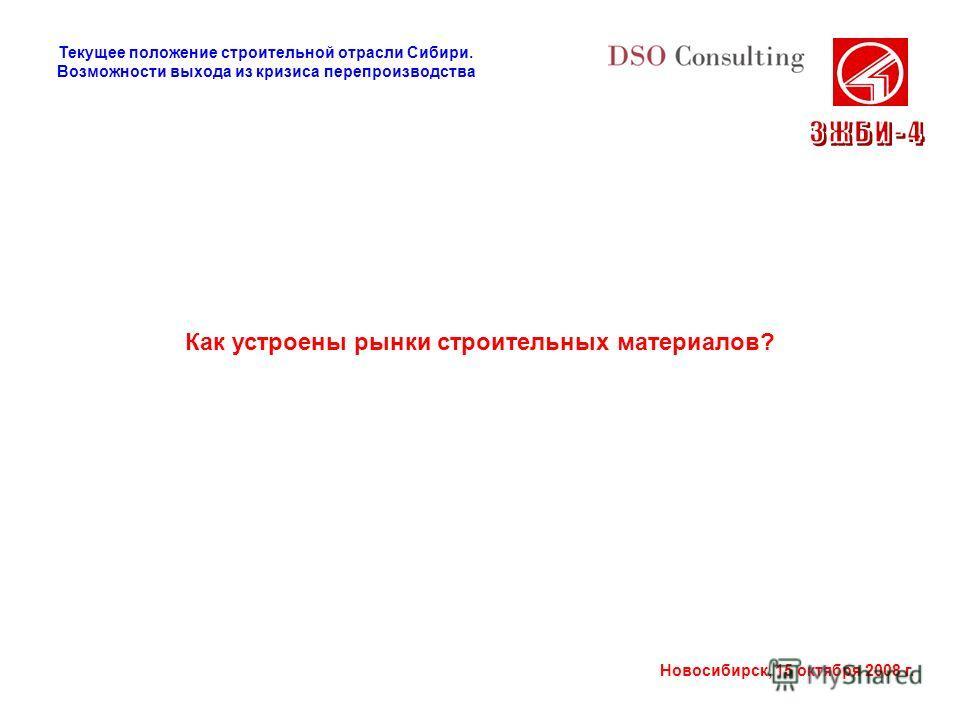 Новосибирск, 15 октября 2008 г. Как устроены рынки строительных материалов? Текущее положение строительной отрасли Сибири. Возможности выхода из кризиса перепроизводства