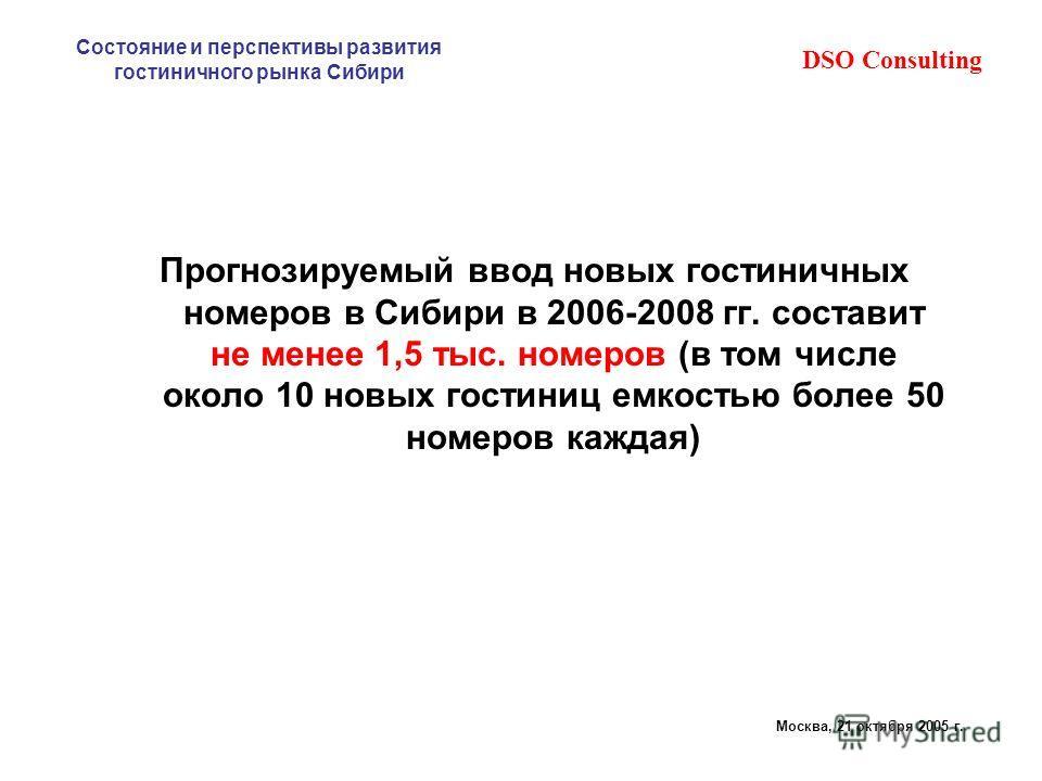 DSO Consulting Состояние и перспективы развития гостиничного рынка Сибири Москва, 21 октября 2005 г. Прогнозируемый ввод новых гостиничных номеров в Сибири в 2006-2008 гг. составит не менее 1,5 тыс. номеров (в том числе около 10 новых гостиниц емкост