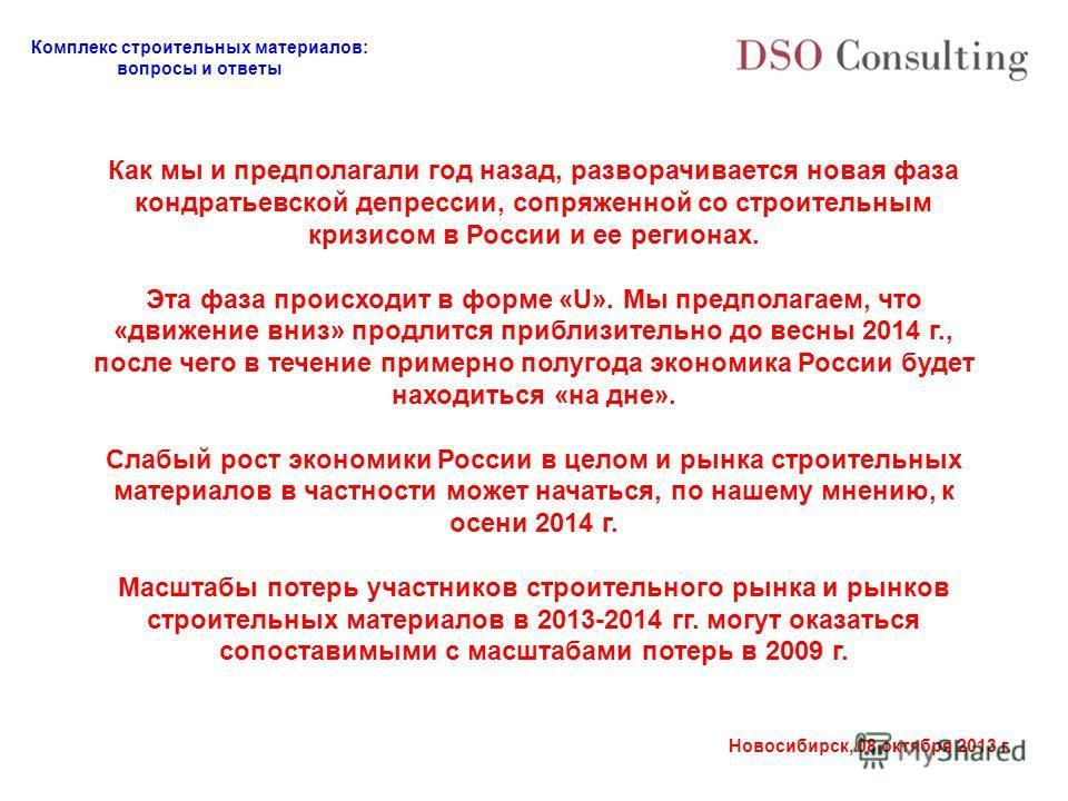 Комплекс строительных материалов: вопросы и ответы Новосибирск, 08 октября 2013 г. Как мы и предполагали год назад, разворачивается новая фаза кондратьевской депрессии, сопряженной со строительным кризисом в России и ее регионах. Эта фаза происходит