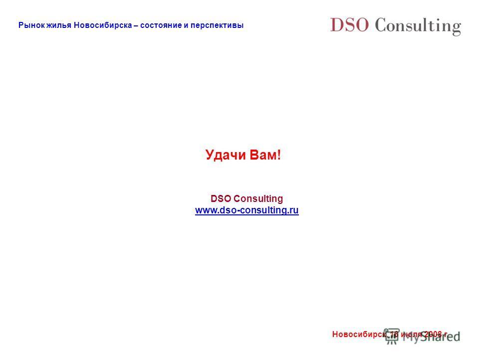 Рынок жилья Новосибирска – состояние и перспективы Новосибирск, 16 июля 2008 г. Удачи Вам! DSO Consulting www.dso-consulting.ru