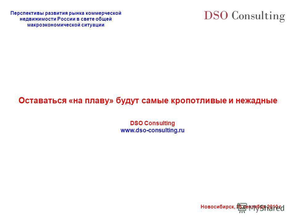 Перспективы развития рынка коммерческой недвижимости России в свете общей макроэкономической ситуации Новосибирск, 16 сентября 2010 г. Оставаться «на плаву» будут самые кропотливые и нежадные DSO Consulting www.dso-consulting.ru