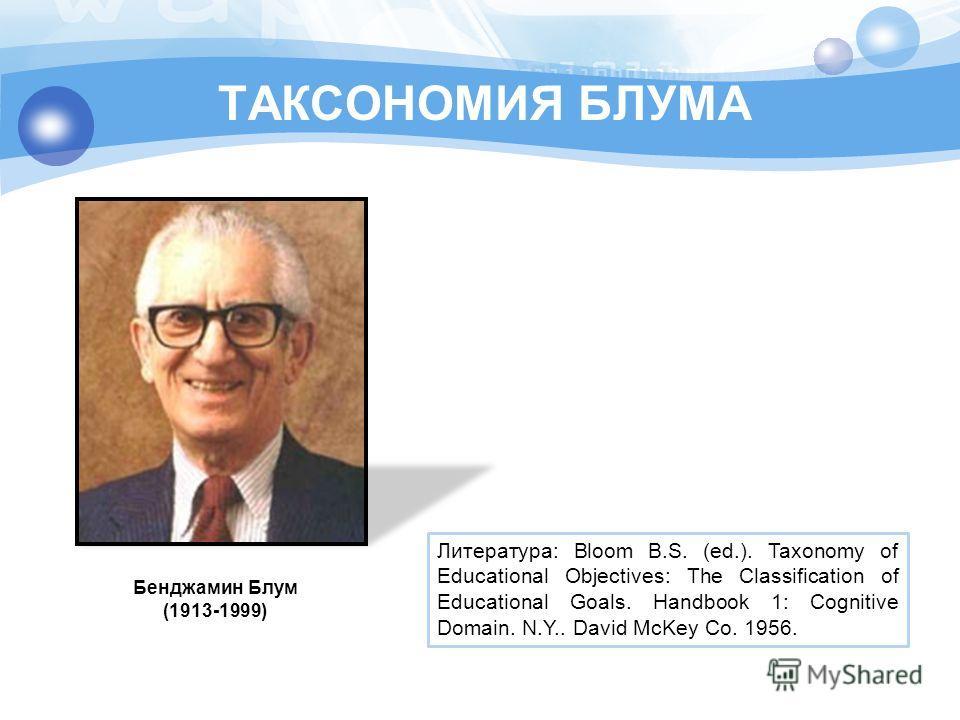 ТАКСОНОМИЯ БЛУМА Бенджамин Блум (1913-1999) Литература: Bloom B.S. (ed.). Taxonomy of Educational Objectives: The Classification of Educational Goals. Handbook 1: Cognitive Domain. N.Y.. David McKey Co. 1956.
