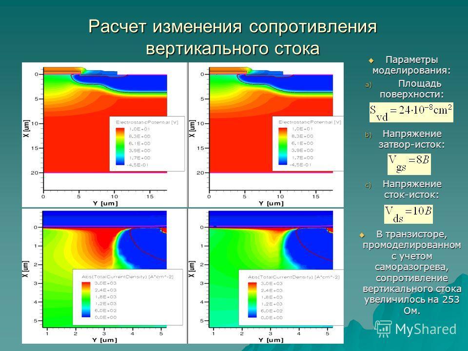 Расчет изменения сопротивления вертикального стока Параметры моделирования: Параметры моделирования: a) Площадь поверхности: b) Напряжение затвор-исток: c) Напряжение сток-исток: В транзисторе, промоделированном с учетом саморазогрева, сопротивление
