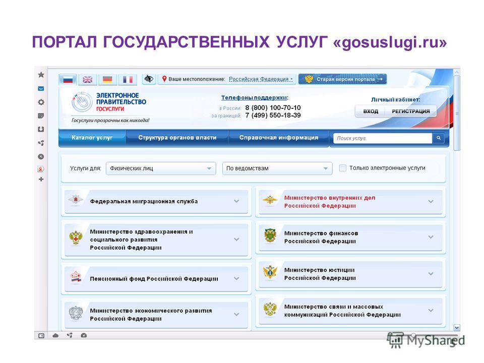 ПОРТАЛ ГОСУДАРСТВЕННЫХ УСЛУГ «gosuslugi.ru» 5