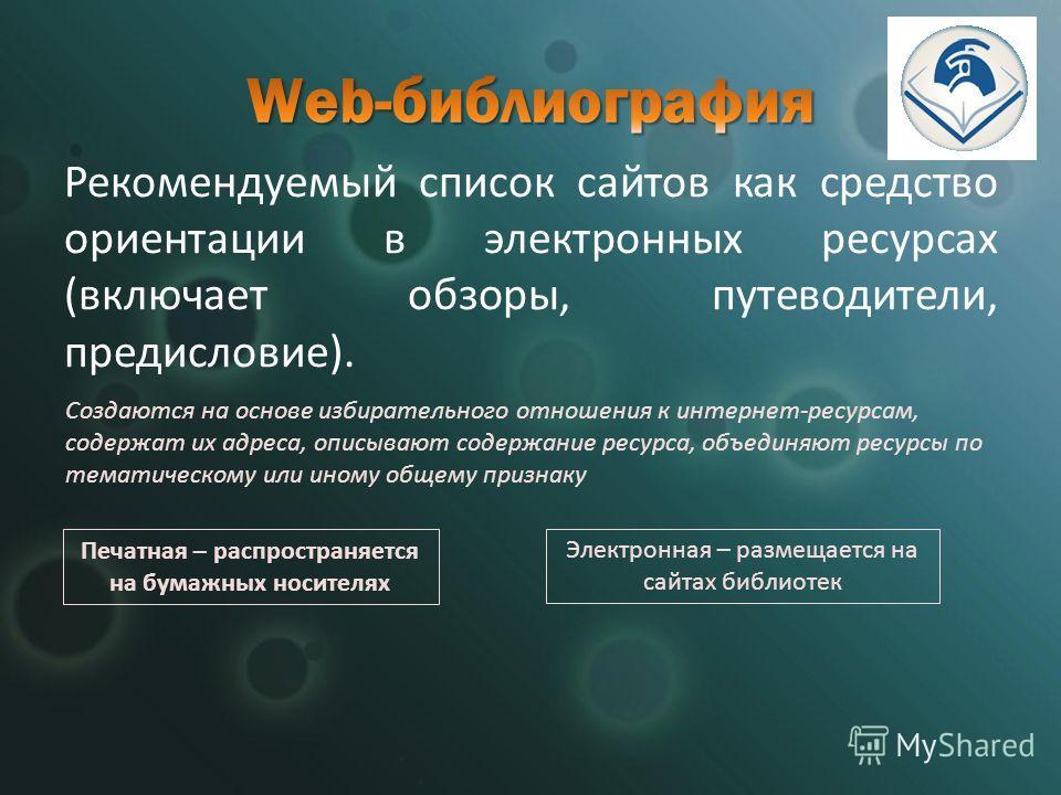 Рекомендуемый список сайтов как средство ориентации в электронных ресурсах (включает обзоры, путеводители, предисловие). Печатная – распространяется на бумажных носителях Электронная – размещается на сайтах библиотек Создаются на основе избирательног