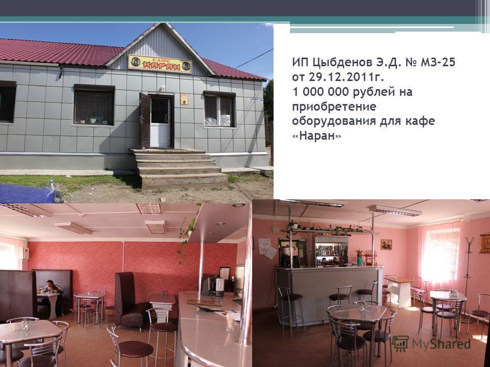 ИП Цыбденов Э.Д. МЗ-25 от 29.12.2011г. 1 000 000 рублей на приобретение оборудования для кафе «Наран»