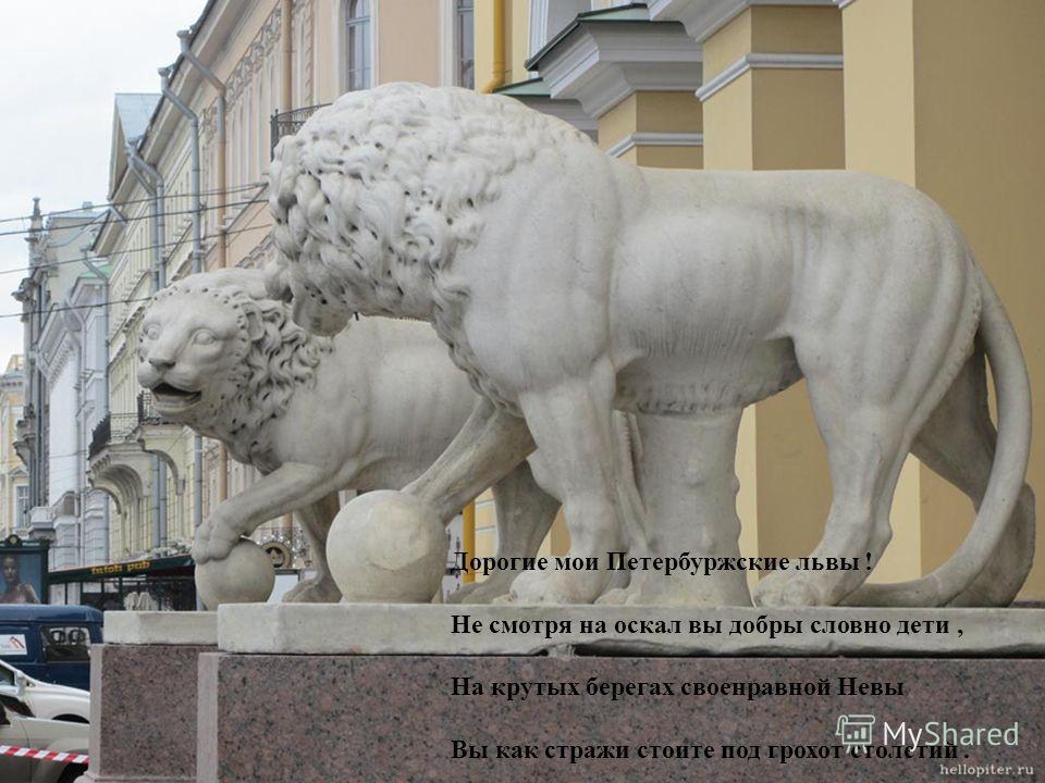 Дорогие мои Петербуржские львы ! Не смотря на оскал вы добры словно дети, На крутых берегах своенравной Невы Вы как стражи стоите под грохот столетий.