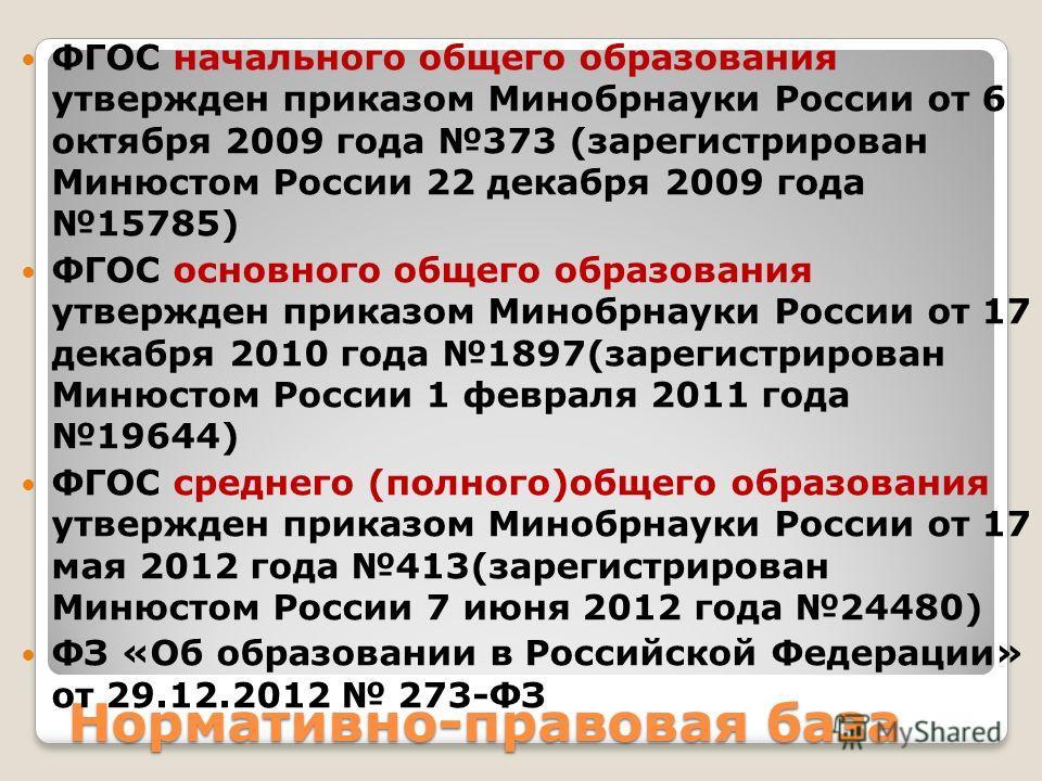 Нормативно-правовая база ФГОС начального общего образования утвержден приказом Минобрнауки России от 6 октября 2009 года 373 (зарегистрирован Минюстом России 22 декабря 2009 года 15785) ФГОС основного общего образования утвержден приказом Минобрнауки