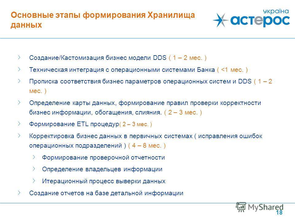 18 Создание/Кастомизация бизнес модели DDS ( 1 – 2 мес. ) Техническая интеграция с операционными системами Банка (
