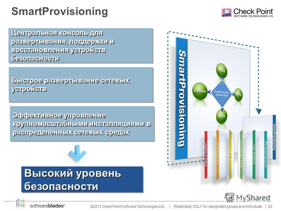 22 ©2011 Check Point Software Technologies Ltd. | [Restricted] ONLY for designated groups and individuals | SmartProvisioning Эффективное управление крупномасштабными инсталляциями в распределенных сетевых средах Высокий уровень безопасности Быстрое