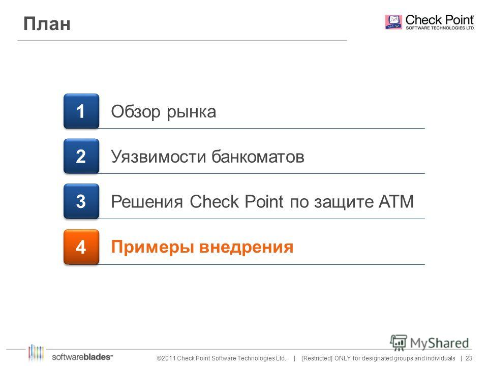23 ©2011 Check Point Software Technologies Ltd. | [Restricted] ONLY for designated groups and individuals | План 1 1 Обзор рынка Уязвимости банкоматов Решения Check Point по защите АТМ 3 3 Примеры внедрения 4 4 2 2
