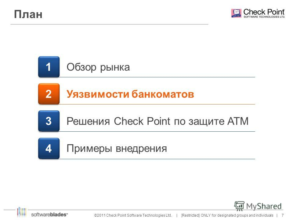 7 7©2011 Check Point Software Technologies Ltd. | [Restricted] ONLY for designated groups and individuals | План 1 1 Обзор рынка Уязвимости банкоматов 2 2 Решения Check Point по защите АТМ 3 3 Примеры внедрения 4 4