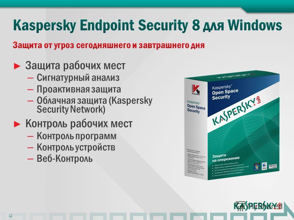 Защита рабочих мест – Сигнатурный анализ – Проактивная защита – Облачная защита (Kaspersky Security Network) Контроль рабочих мест – Контроль программ – Контроль устройств – Веб-Контроль 12