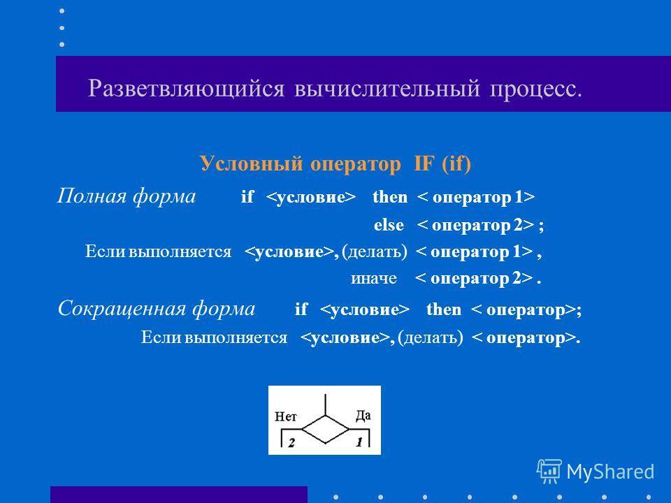 Разветвляющийся вычислительный процесс. Условный оператор IF (if) Полная форма if then else ; Если выполняется, (делать), иначе. Сокращенная форма if then ; Если выполняется, (делать).