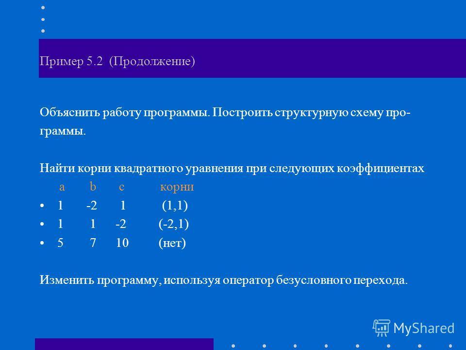 Пример 5.2 (Продолжение) Объяснить работу программы. Построить структурную схему про- граммы. Найти корни квадратного уравнения при следующих коэффициентах a b c корни 1-2 1 (1,1) 1 1 -2 (-2,1) 5 7 10 (нет) Изменить программу, используя оператор безу