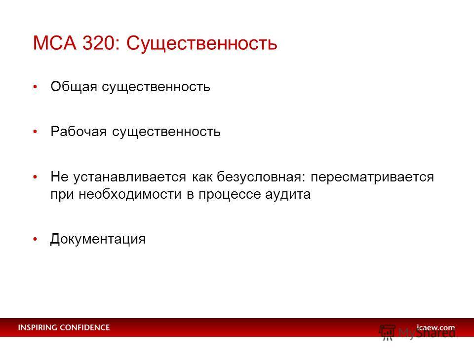 МСА 320: Существенность Общая существенность Рабочая существенность Не устанавливается как безусловная: пересматривается при необходимости в процессе аудита Документация