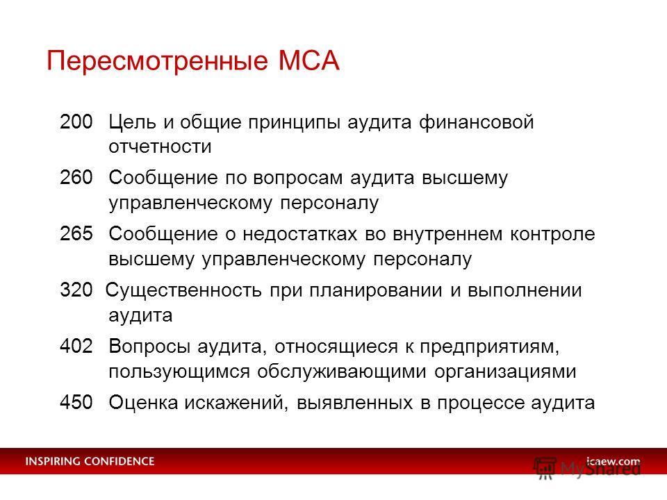 Пересмотренные МСА 200 Цель и общие принципы аудита финансовой отчетности 260Сообщение по вопросам аудита высшему управленческому персоналу 265Сообщение о недостатках во внутреннем контроле высшему управленческому персоналу 320 Существенность при пла
