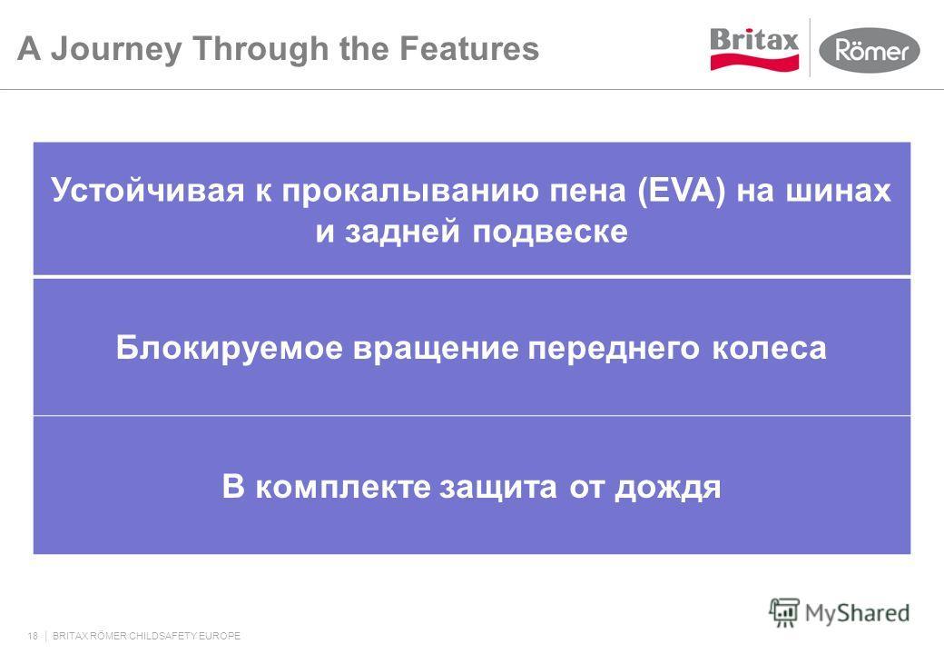 A Journey Through the Features 18 BRITAX RÖMER CHILDSAFETY EUROPE Устойчивая к прокалыванию пена (EVA) на шинах и задней подвеске Блокируемое вращение переднего колеса В комплекте защита от дождя