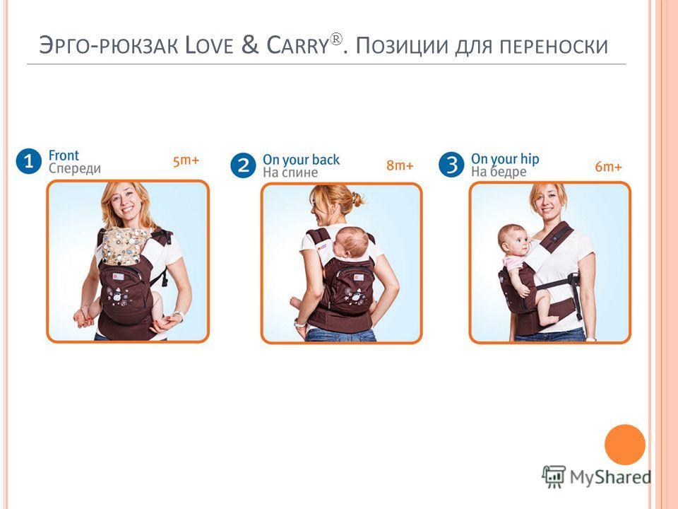 Э РГО - РЮКЗАК L OVE & C ARRY ®. П ОЗИЦИИ ДЛЯ ПЕРЕНОСКИ