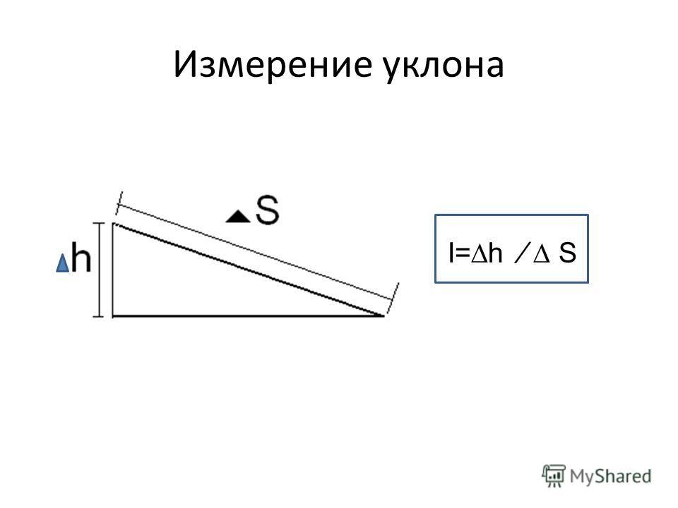 Измерение уклона I=h S