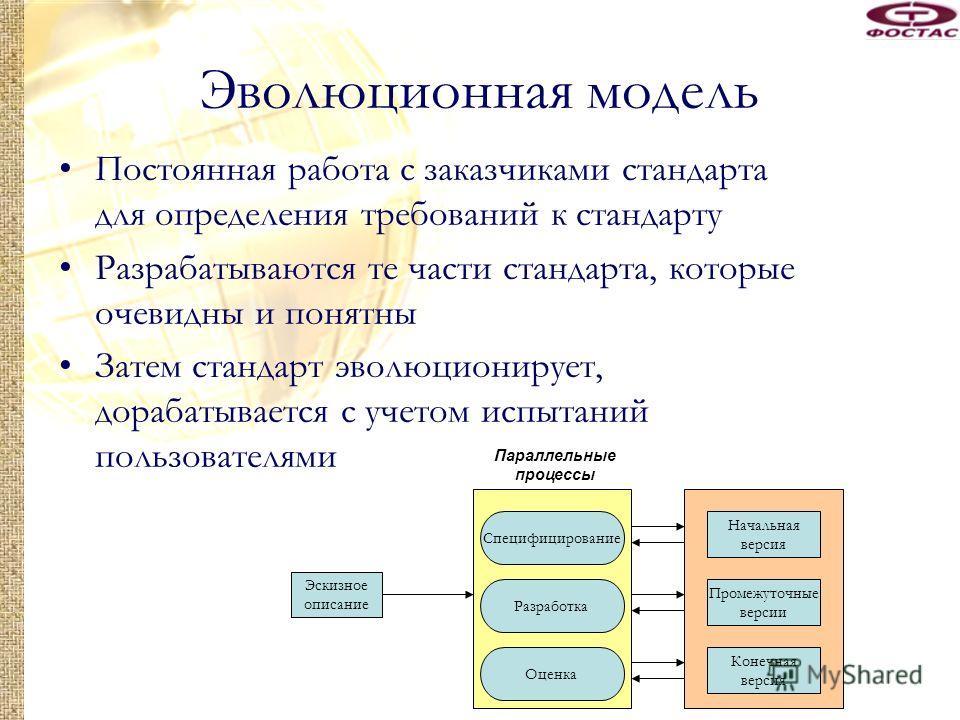 Эволюционная модель Постоянная работа с заказчиками стандарта для определения требований к стандарту Разрабатываются те части стандарта, которые очевидны и понятны Затем стандарт эволюционирует, дорабатывается с учетом испытаний пользователями Эскизн