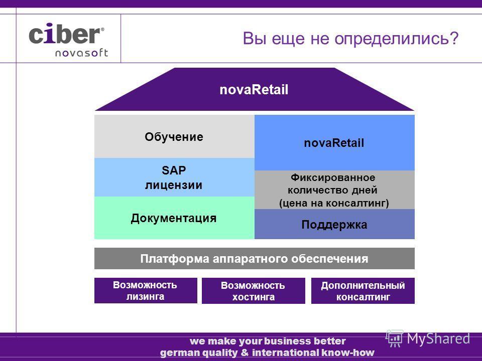 Обучение SAP лицензии Документация novaRetail Фиксированное количество дней (цена на консалтинг) Поддержка novaRetail Платформа аппаратного обеспечения Возможность лизинга Дополнительный консалтинг Возможность хостинга Вы еще не определились? we make
