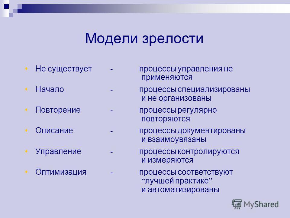 Модели зрелости Не существует - процессы управления не применяются Начало - процессы специализированы и не организованы Повторение - процессы регулярно повторяются Описание - процессы документированы и взаимоувязаны Управление - процессы контролируют