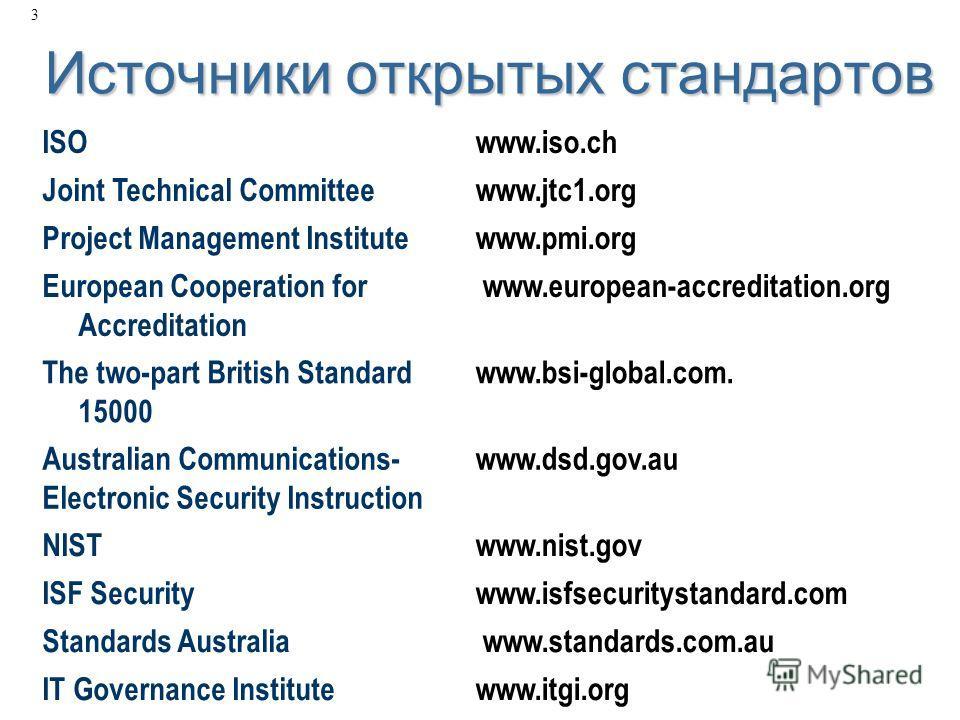 3 Источники открытых стандартов ISOwww.iso.ch Joint Technical Committeewww.jtc1.org Project Management Institutewww.pmi.org European Cooperation for Accreditation www.european-accreditation.org The two-part British Standard 15000 www.bsi-global.com.