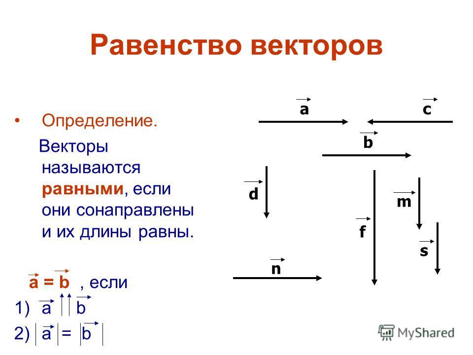 Равенство векторов Определение. Векторы называются равными, если они сонаправлены и их длины равны. а = b, если 1)а b 2)а = b аc b d m n s f