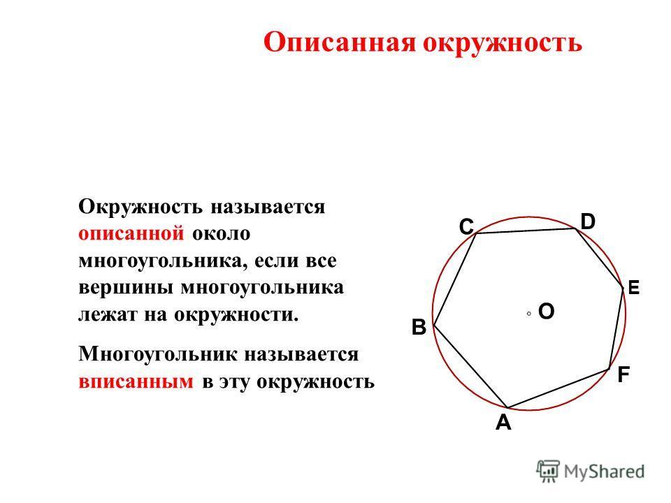 Описанная окружность Окружность называется описанной около многоугольника, если все вершины многоугольника лежат на окружности. Многоугольник называется вписанным в эту окружность A B C D E F O