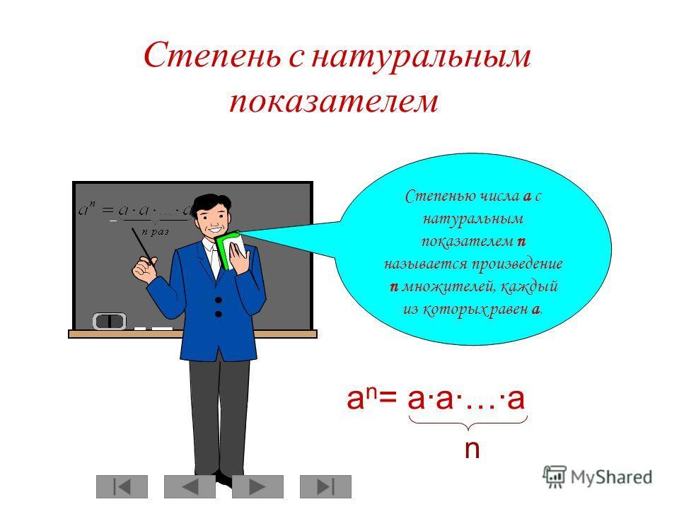 Степень с натуральным показателем Степенью числа a с натуральным показателем n называется произведение n множителей, каждый из которых равен a.a. a n = aa…a n
