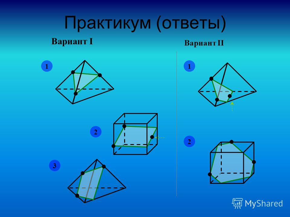 Практикум (ответы) Вариант I Вариант II 1 2 3 1 2
