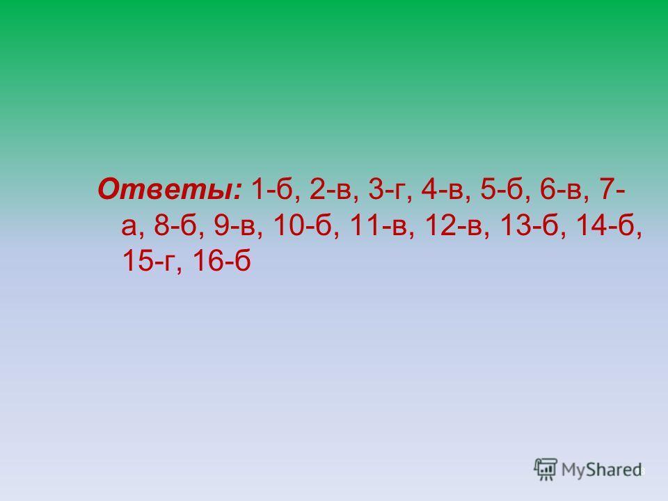 18 Ответы: 1-б, 2-в, 3-г, 4-в, 5-б, 6-в, 7- а, 8-б, 9-в, 10-б, 11-в, 12-в, 13-б, 14-б, 15-г, 16-б